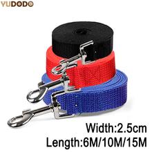 6M/10M/15M Long Nylon Dog Leashes Width 2.5cm Pet Puppy Training Straps Black/Blue Dogs Lead Rope Belt Leash(China)