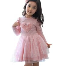 Hot Sales New Summer Children Girl Princess Heart Pattern Flower Tulle Dress Long-sleeved Dresses Pink(China)