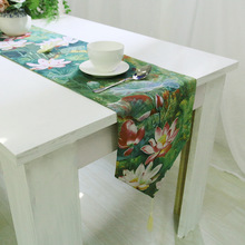 BZ372 Classical Table Runner green lotus printed chemin de table new design runners cotton linen table cover home decoration(China)