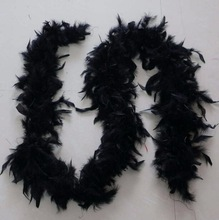 Black chicken Feather Strip Turkey Feather Boa for clothing accessories Clothing sewing supplies and fabrics scary 2yards/lot