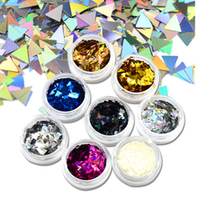 New Triangle DIY Laser Flakes Designs 1g/box Nail Art Decorations 8 Colors Thin Mini Sparkly Paillette Sticker Sequin SJ01-08