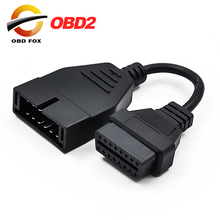 10pcs/lots for Daewoo 12 Pin Male to OBD OBD2 OBDII DLC 16 Pin Female Car Diagnostic Tool Adapter 12pin Converter Cable