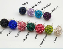 good new arrival 10mm Clay Crystal Micro Pave Disco Ball Silver Plated Shamballa Earrings Stud jewelry for women(China)