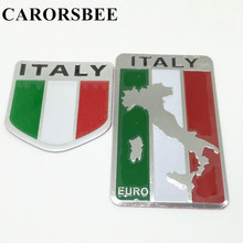 CARORSBEE Aluminum Italy Map National Flag Car Sticker Auto Styling EURO LOGO Automobiles motorcycle fuel tank bicycle stickers(China)