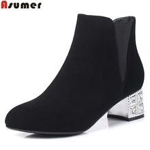 Asumer Real nubuck leather boots sheepskin med heel ankle boots punk casual fashion black concise sweet women boots autumn shoes(China)