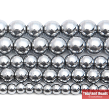 "Free Shipping Natural Stone Silver Plated Hematite Shamballa Beads 4 6 8 10 MM 15"" Per Strand Pick Size For Jewelry Making HB15"
