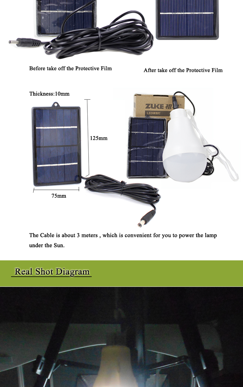 ZuKe 1w Solar Lamp Led Bulb 6V 1W Solar Panel Powered Emergency Led Camping Lantern Luces Led Solares Para Exterior
