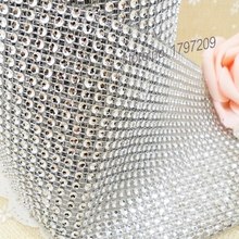 Silver Wedding Bouquet Shinning Ribbon 1yard Diamond Mesh Bouquet Wrap Sparkle Rhinestone Ribbon Wedding Accessory wedding favor(China)