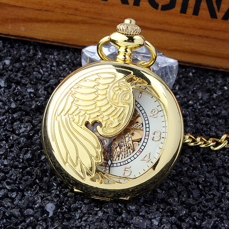 Luxury Phoenix Wing Hollow Golden Case White Dial Skeleton Automatic Mechanical Men Lady Pocket Watch FOB Chain Best Gift P382<br><br>Aliexpress