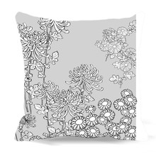Gray background White plants painting Square Cushion Cover Cotton polyester Printed Decorative Home car sofa chair Seat