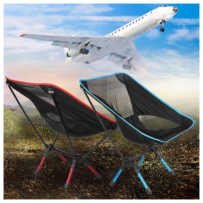 Portable Mini Folding Beach Chair 4 colors blue Orange Red Sky Blue 7075 Aerospace Aluminum 800D Oxford Cloth Load 150KG Durable<br>