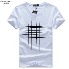 Simple creative design line cross Print T Shirts Men's New Arrival Summer Style Short Sleeve Men t-shirt 2017 O-Neck Hip Hop Top(China)