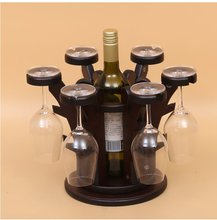 Ready Source of Money Wooden Wine Cup Holder Hanging Stemware Rack Bar Hanging Upside Down Creative Ornaments Wine Racks