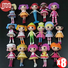 "New 8 PCS Lalaloopsy Mini Dolls PlayHouse Unique Styles Baby Girl Toys Approx 8cm/3"" Kids Birthday Gift Free Tracking"