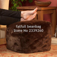 COVER ONLY NO FILLER - Brown cube ottomans , footstool seat cushion , butt rest chair