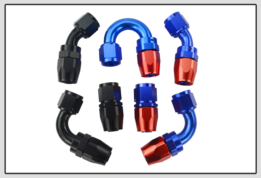 10AN 90 Degree AN 10 Female Swivel Push-on//Lock Hose Barb Fuel Oil Line Fitting End Aluminum Black