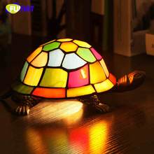 FUMAT Bedside Lamp Stained Glass Turtle Light Living Room Home Decor Creative Table Lights Kids Gift Art Glass Turtle Table Lamp(China)