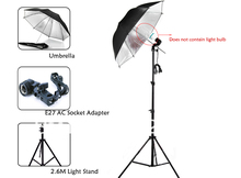 Free Shipping Photographic Equipment Clothing Shoot Photography Set 2.6m Light Stand + Reflector Umbrella + Socket Adapter