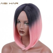 AISI HAIR Short Ombre Wigs for Black Women Synthetic Straight Ombre Pink Hair Bob Style(China)