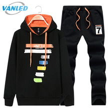 2017 Hoodies Men Hoodie Sweatshirts Set Autumn Winter Sporting Set Men's Tracksuits Brand Mens Tracksuits Jacket+Pants Plus Siz