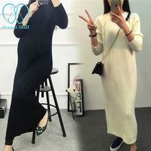 7303# 2016 Autumn Winter Knitted Maternity Sweater Dress Elegant Bodycon Maxi Long Dress for Pregnant Women Maternity Clothes