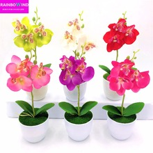1PC Butterfly orchid artificial flower bonsai 3 flowers simulation flores home wedding decoration table bedroom accessory decor(China)