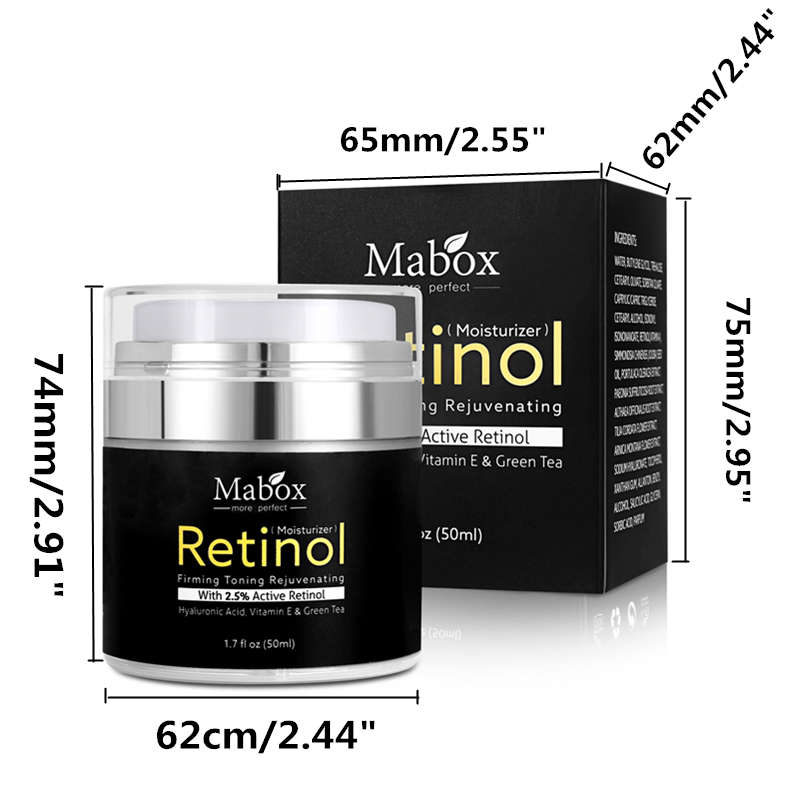 MABOX Retinol 2.5% Moisturizer Face Cream and Eye Hyaluronic Acid Vitamin E Best Night and Day Moisturizing Cream Drop Shipping 6