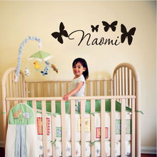 Customised Girls Name Vinyl Wall Sticker Personalised Butterfly Wall Sticker Letter Art Decal Home Decor