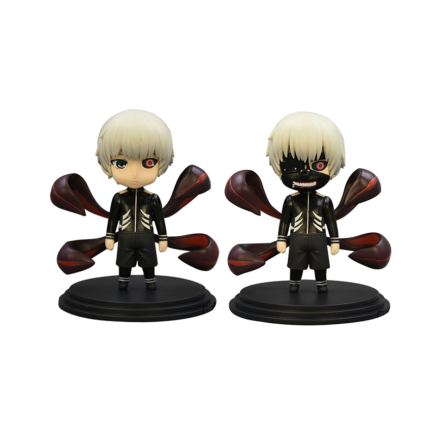 2Pcs/Set New Anime Tokyo Ghoul Kaneki Ken PVC Action Figure Cartoon Doll 10cm Japanese Figurine World Toys for Children boys<br><br>Aliexpress