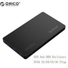 ORICO 2588H3 2.5 HDD Enclosure USB 3.0 Hard Drive Case with 3 Ports USB3.0 HUB Tool Free Design Driver with 5V2A Power Adapter