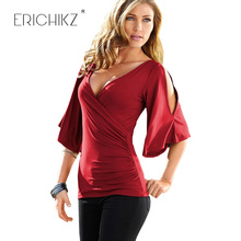 ERICHIKZ Off The Shoulder Tops for Women 5colors Summer Femme Blouses Sexy V Neck Puff Sleeve Shirt Front Fold Blusa Drape Top(China)