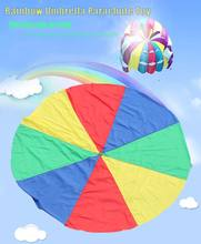Free Shipping 5m Child Kid Sports Development Outdoor Rainbow Umbrella Parachute Toy Jump-sack Ballute Play Parachute