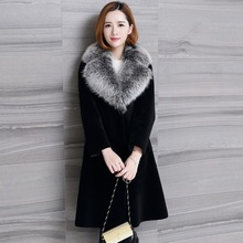 Real fur coat women 2017 winter thick warm fur coat genuine sheepskin leather fur one piece coat natural fox fur collar 0913G(China)