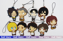 5-6.5cm 9PCS/LOT Attack on titan Silicone mobile phone charms Action Figure Anime cell phone strap charm