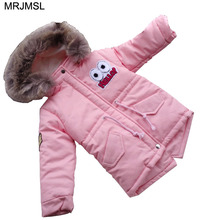 MRJMSL Girl warm clothes Children Winter Outerwear for Baby Girls Coats Children's Hooded Jackets eyes letters pink blue 2017