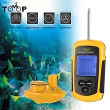 FFFW1108-1  Wireless Fish Finder Sonar Sensor Transducer Depth Sounder Fishing Finder Alarm Fish Detector + Neck Strap