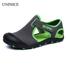UNINICE Kids Sandals For Boys Leather Beach Sandals Children Shoes Breathable Comfortable Baby Boy Sandals Non-slip Boys Shoes(China)