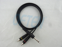 6.35 6.5 double track to 2 RCA Turn the double lotus Audio line Double parallel audio cables free shipping