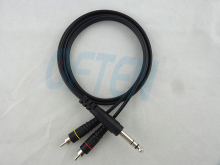 6.35 6.5 double track to 2 RCA Turn the double lotus Audio line Double parallel audio cables free shipping(China)