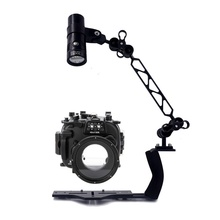Underwater Waterproof Housing Diving Case for Fujifilm X100S X-T1 X-T10 X-M1 X-A1 XA-2 Camera + Arm Bracket + Led Video Torch