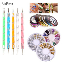 AddFavor Nail Art Tools Kit Nail Rhinestones Dotting Pen Manicure Beauty 3D Glitter Nail Line Strip Tape DIY Crystal Decorations(China)