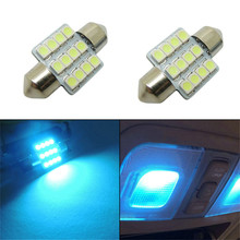 2 Pcs 12V High Brightness 31mm Length 12-SMD 5050 LED Bulbs Car Interior Aqua Blue Lights