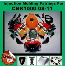 Free screws+gifts For Honda CBR 1000RR 2008 2009 2010 2011 CBR 1000 RR ABS Plastic motorcycle Fairing Kit Orange REPSOL