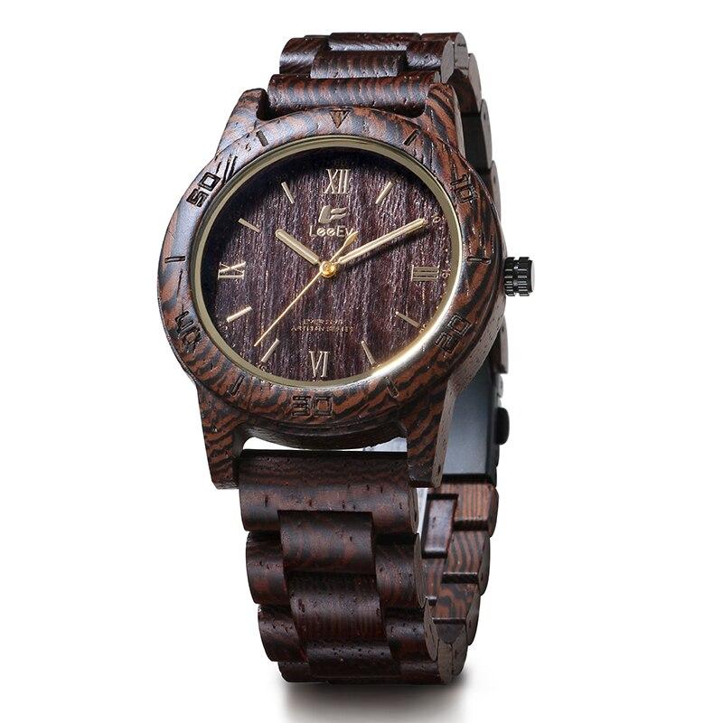 LeeEv EV2075 Mens Unique Natural Wenge Wood Watch Analog Quartz Light Weight Vintage Wooden Wrist Watch<br>