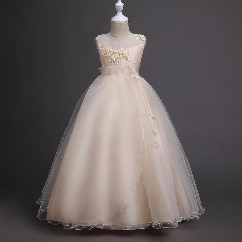 kids Girls costume dress flower wedding or party Princess Dress sleeveless  O-neck teenagers fashion pretty dress 5-16years<br>