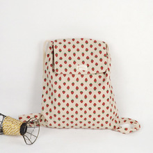 YILE Handmade Cotton Linen Draw String Backpack Student Book Bag Red Strawberry WF07