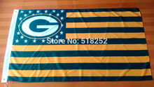 NFL Green Bay packers US Stripe Flag 3x5 FT 100D 150X90CM Banner Polyester flag 1003, free shipping(China)