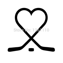 50 pcs/lot Hockey Sticks Heart puck love play ice Vinyl Decal Sticker for Snowboard Snow Board Sports Car Truck Window Bumper