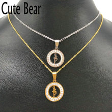 Cute Bear Brand High Quality Stainless Steel Round Hollow Ballet Dancer Pendant Necklace Women Jewelry Wholesale