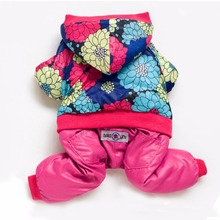 New Rose Flower Brand Puppy Dog Jumpsuit for small Chihuahua Teddy Toy Poodle Yorkshire Winter Warm Pet Dog Tracksuits Clothes(China)